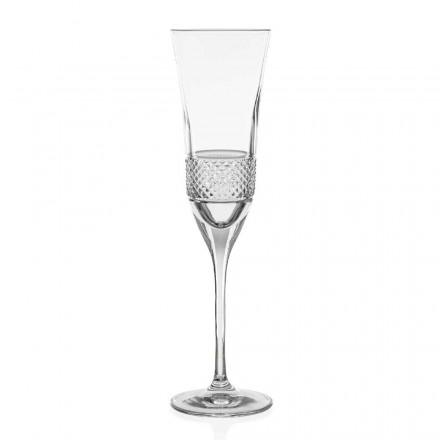 12 ökologische Kristall Champagner Flöte Gläser, handdekoriert - Milito