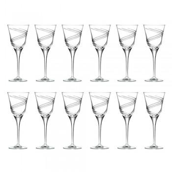 12 Gläser für Weißwein in dekoriertem und satiniertem ökologischem Kristall - Zyklon