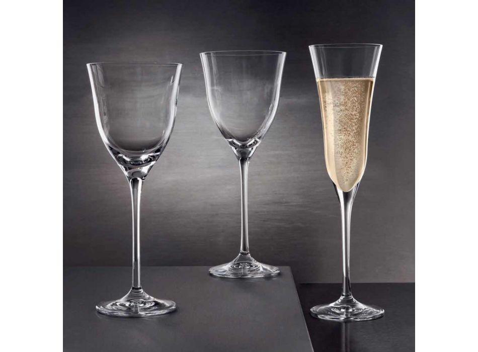 12 Rotweingläser in ökologischem Kristall Luxus Minimal Design - glatt