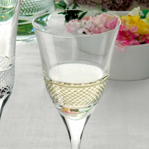 12 Weißweingläser in ökologischem Kristall-Luxus-Dekor - Milito