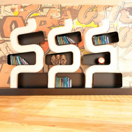 Bücherregal in modernem Design aus Solid Surface® Ser P Made in Italy