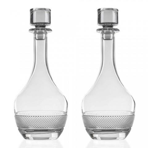 2 Weinflaschen mit rundem Design Ökologischer Kristalldeckel - Milito