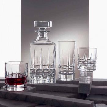 2 Whiskyflaschen mit Kristallkappe Quadratisches Design mit Kappe - Fiucco