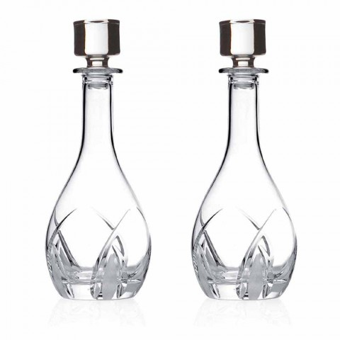 2 Weinflaschen mit runden Designdeckeln aus Öko-Kristall - Montecristo