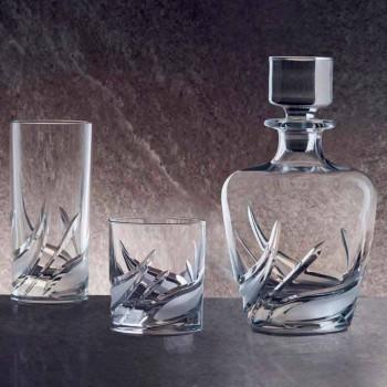 2 Kristall-Whiskyflaschen mit luxuriöser verzierter Designkappe - Advent