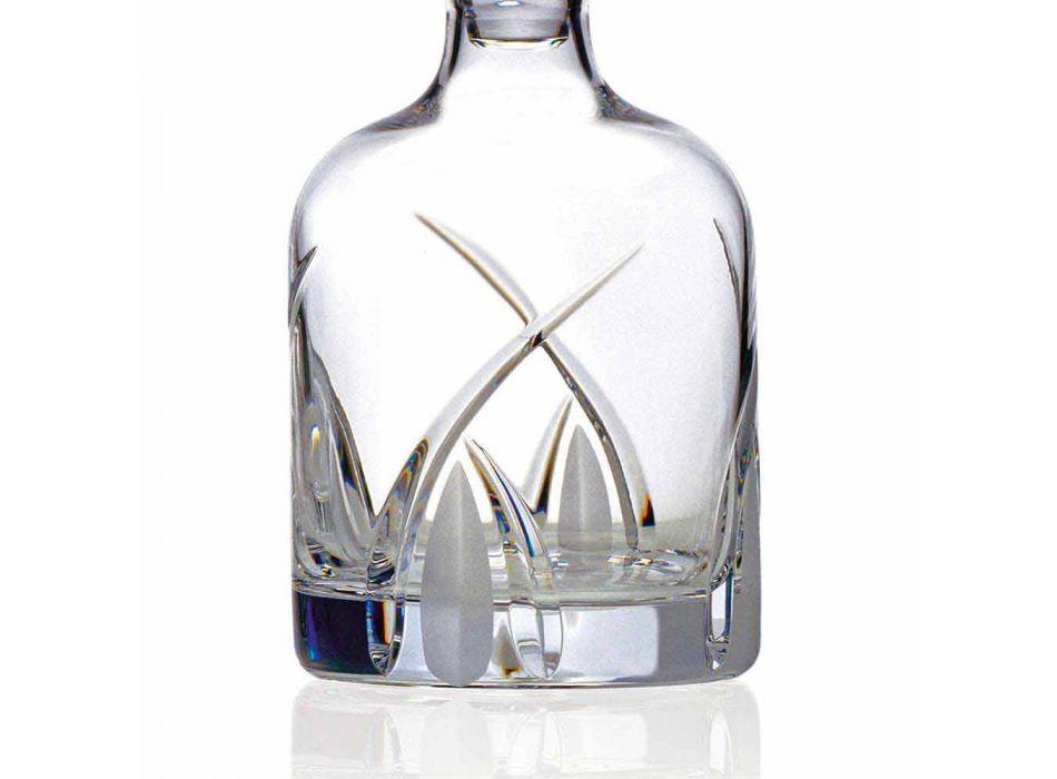 2 Whiskyflaschen mit zylindrischer Designkappe aus Öko-Kristall - Montecristo