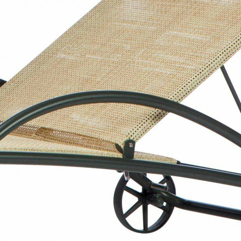 2 stapelbare Outdoor-Chaiselongues aus Metall und Stoff Made in Italy - Perlo