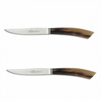 2 Steakmesser mit Horn- oder Holzgriff Made in Italy - Marino