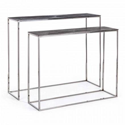 2 Consolle in Stahl und plattiertem Aluminium Modernes Design Homemotion - Narnia