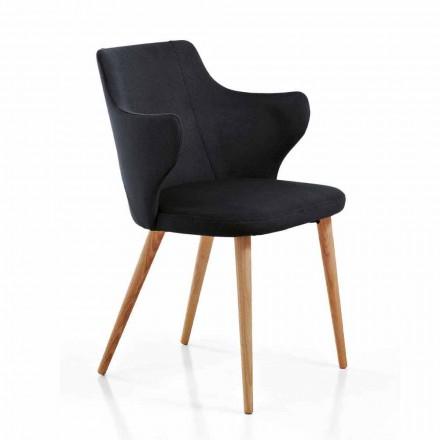 2 Design Esszimmer Sessel aus farbigem Stoff und Esche - Herzogin