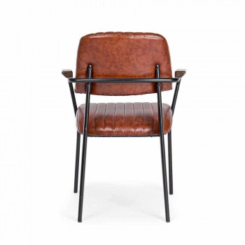 2 Stühle mit Armlehnen aus Kunstleder Vintage Effekt Homemotion - Clare
