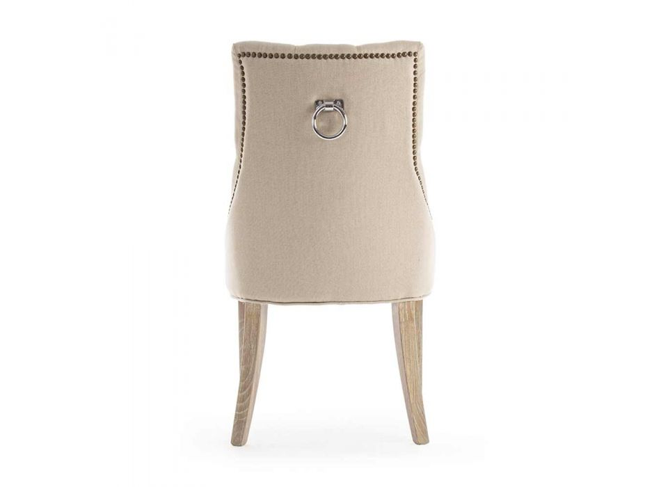 2 moderne Leinenstühle mit Eichenholzstruktur Homemotion - Barna