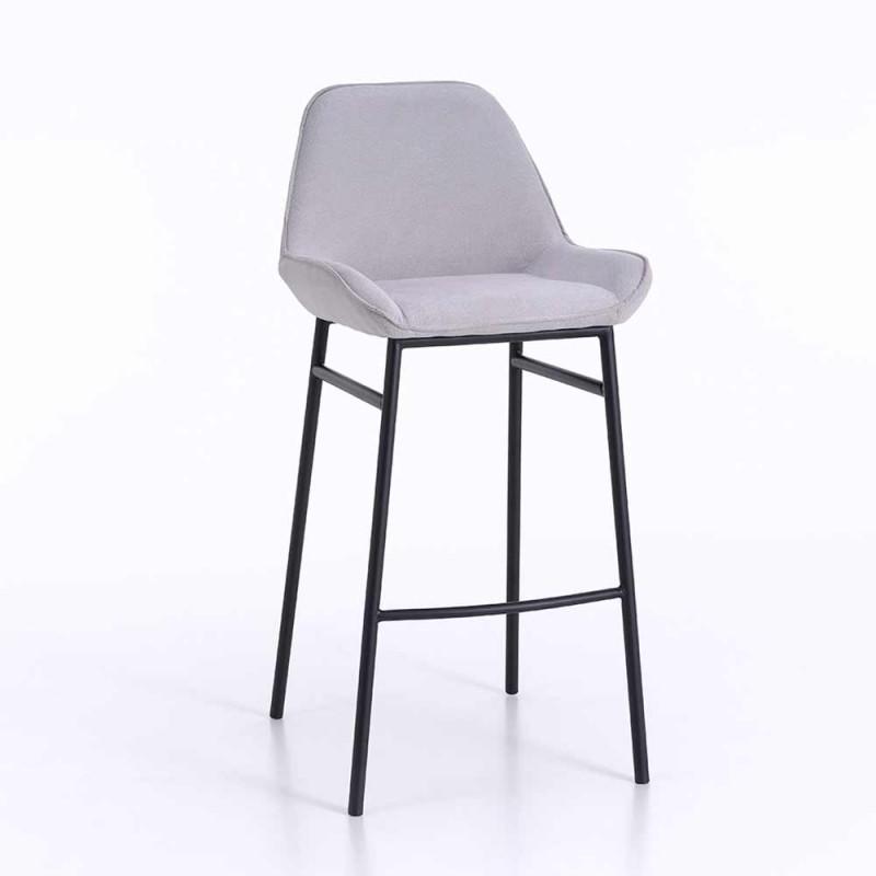 2 moderne Metallhocker mit Sitz aus Mikrofaser oder Kunstleder - Bellino