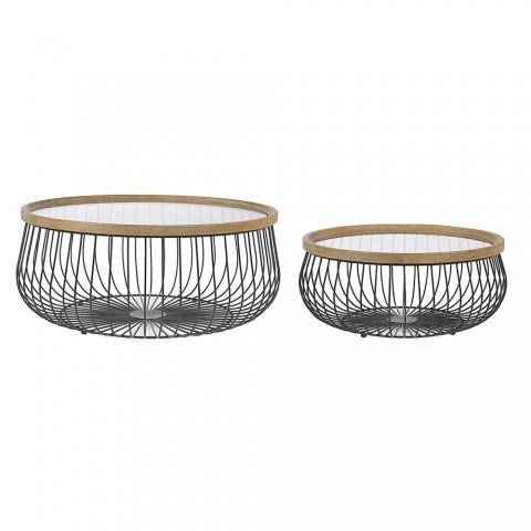 2 Homemotion Couchtische mit runder Glas- und Holzplatte - Randolo