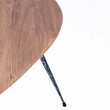 3 moderne Couchtische mit Homemotion Mango Holzplatte - Kalidi