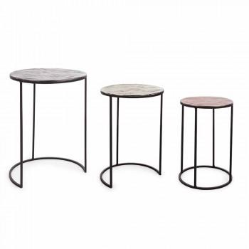 3 runde Couchtische aus Aluminium und Stahl Homemotion - Sempronio