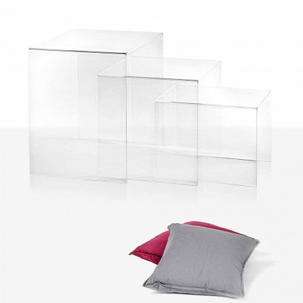 3 transparente überlappende Tische von Amalia Design, hergestellt in Italien