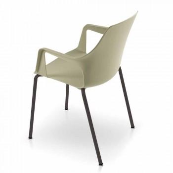 4 stapelbare Außenstühle aus Polypropylen und Metall Made in Italy - Carlene