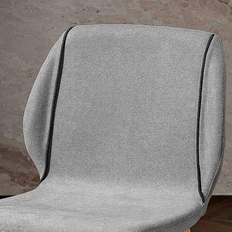4 elegante Wohnzimmerstühle in modernem Design aus Stoff mit Bordüre - Scarat