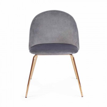 4 Designstühle aus Samt mit Stahlkonstruktion Homemotion - Dania