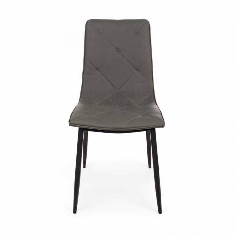 4 moderne Stühle aus Kunstleder mit Stahlsockel Homemotion - Daisa