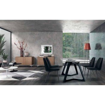 4 gepolsterte Esszimmerstühle aus Samt gepolstert Made in Italy - Grain