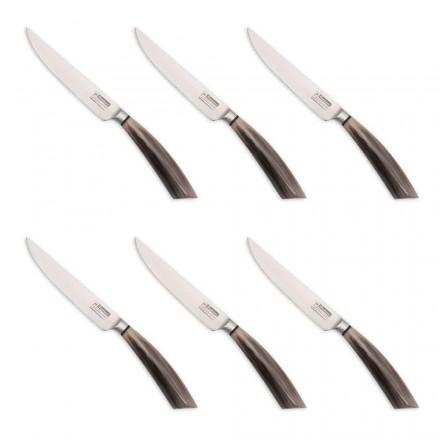 6 handgefertigte Steakmesser aus Horn oder Holz Made in Italy - Zuzana