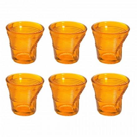 12 Kaffeetassen zerknittertes farbiges Designglas - Sarabi
