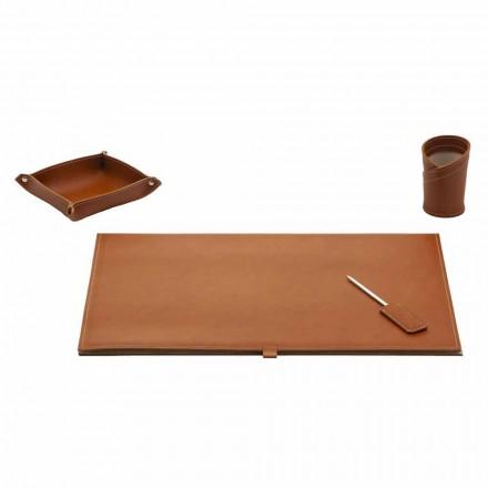 Zubehör für Designer Schreibtisch aus gebundenem Leder, 4 Stück - Aristoteles