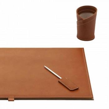 Schreibtischzubehör aus regeneriertem Leder 4 Stück Made in Italy - Aristoteles