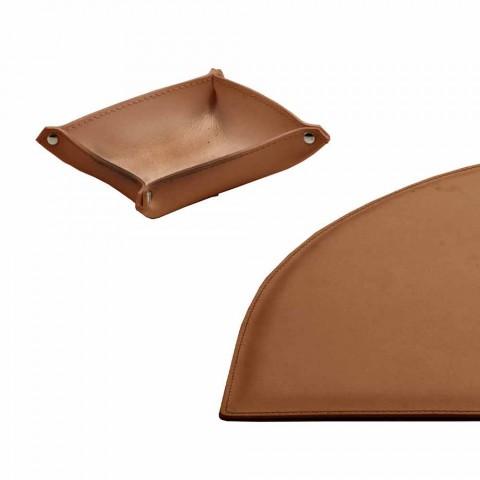 Schreibtischzubehör aus regeneriertem Leder 4 Stück Made in Italy - Medea