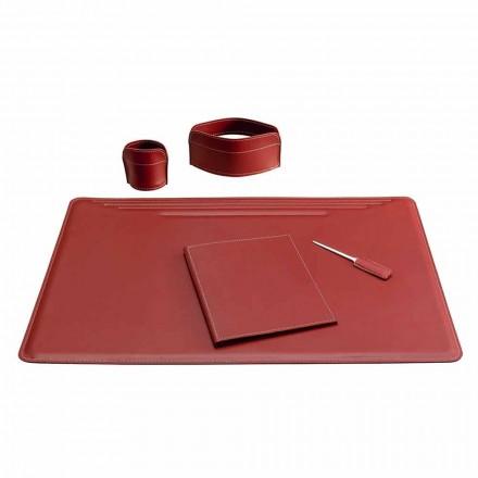 5-teiliges Leder-Schreibtischzubehör Made in Italy - Ebe
