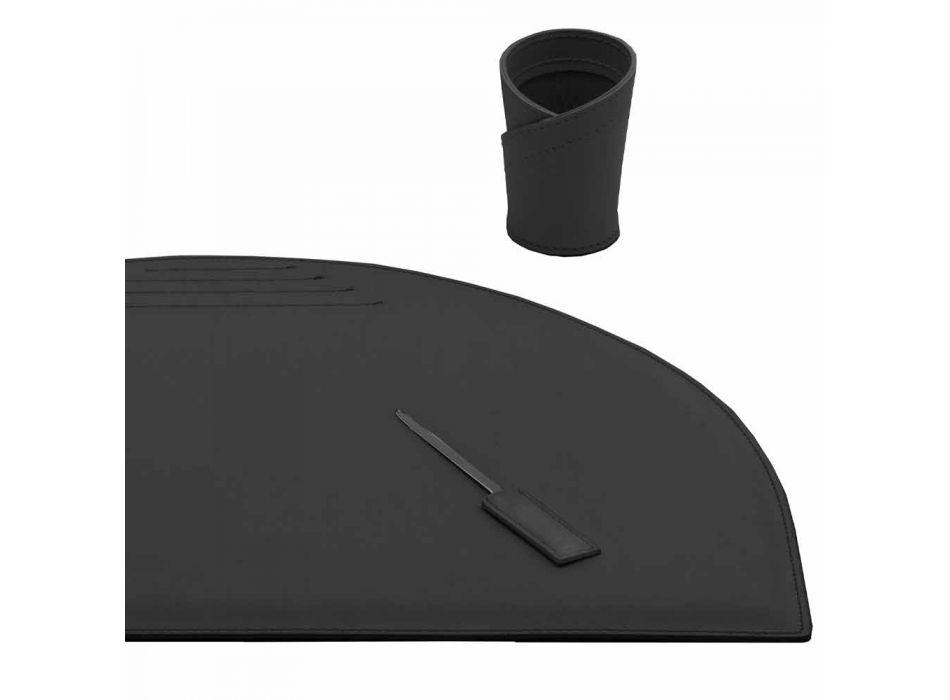Schreibtischzubehör aus regeneriertem Leder 5 Stück Made in Italy - Medea