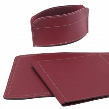 Zubehör 5-teiliger Schreibtisch aus regeneriertem Leder Made in Italy - Brando