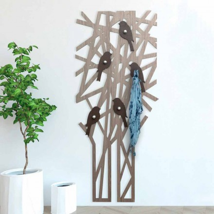 Wandgarderobe aus farbigem Holz mit modernem Design - Alberuccell