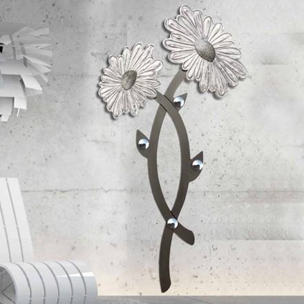 Wand-Kleiderhaken handdekoriert in modernem Design silber Clarke