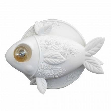 Wandleuchte in mattweißem Keramikdesign mit dekoriertem Fisch - Fisch