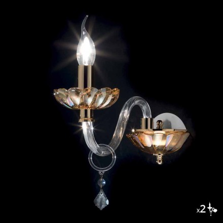 Klassische Design Wandleuchte in Kristall und Glas Belle, 2 Stück