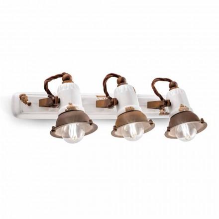 Wandlampe 3-Strahler verstellbar aus Keramik und Metall Lacey