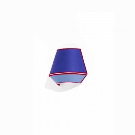 Design Applique aus blauer Baumwolle mit roten und weißen Details Made in Italy - Soja