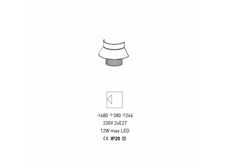Applikation in weißem und grauem Stoff und Rattan-Design Made in Italy - Sailor