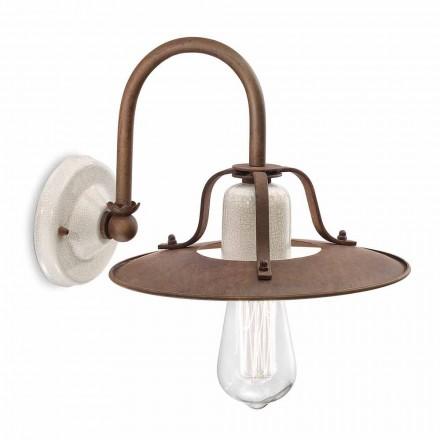 Wandlampe im Industrial Design aus Metall und Keramik Ferroluce