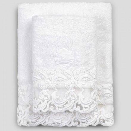 Weiße Baumwolltücher mit Spitze, 2 Stück italienischer Luxus - Sposi