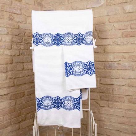 Italienisches handgefertigtes Handtuch mit handgefertigtem Druck aus Baumwolle - Viadurini von Marchi