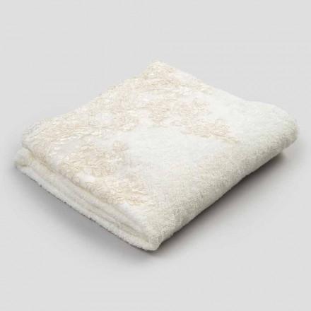 2 Cotton Terry Face Handtuch mit Spitze und Leinen Blend Edge - Ginova