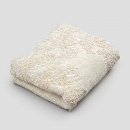 2 Cotton Terry Toweling Gästetücher und Lace Edge aus Spitzenleinen - Ginova