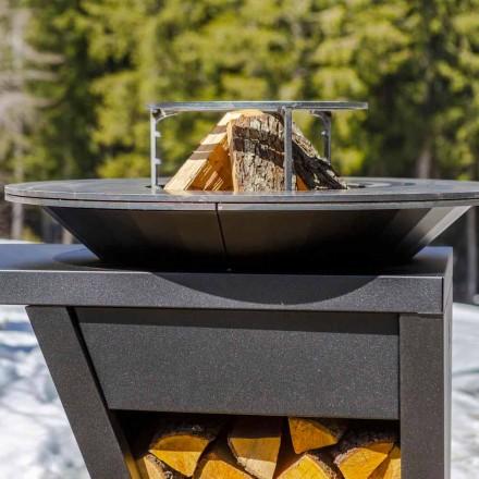 Barbecue mit Feuerbetrieb, Kochplatte und Holzhalterung - Giorgione