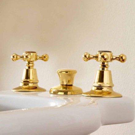 3-Loch Bidet Armaturen aus Messing Made in Italy, Classic Style - Ursula
