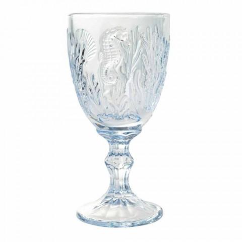 Gläser Wein oder wasserfarbenes Glas Marine Decor 12 Stück - Mazara