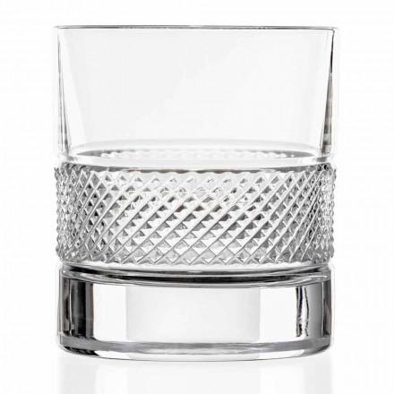 Niedrige Bechergläser aus Öko-Kristall mit Luxusdekoration 12 Stück - Milito